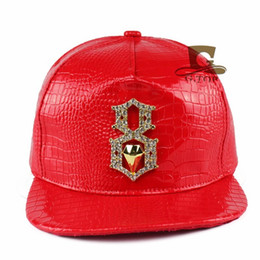 Discount street style baseball cap - Hiphop Hats Leather Adjustable  Crocodile Grain Snap Back Hat Men f0fc0fd493d3
