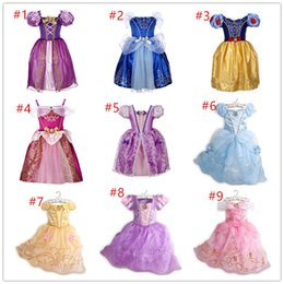 Wholesale Kids Birthday Clothes - 9 Color New Baby Girls Dresses Children White Princess Dresses Wedding Dress Kids Birthday Party Halloween Cosplay Costume Costume Clothes