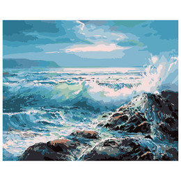contemporâneo flores pinturas Desconto Pintura por Ondas Do Mar por Números Kits Emoldurados Unframed Pintura Digital Set com Tintas Acrílicas Escovas para Adultos Iniciantes