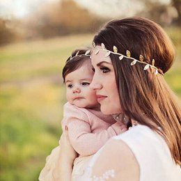Wholesale Gold Leaf Hair Band Accessories - Mommy & Me Matching Leaf Headbands Hairband Set Gold Silver Pink Mom Baby Shower Gift Newborn Hair Bands Hair Accessories