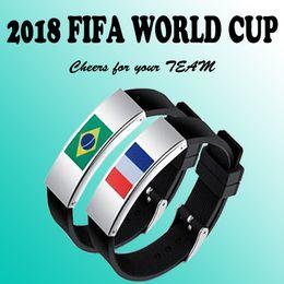 bandiere brasiliane Sconti Bandiera Germania in acciaio inox 9 cuntries Bandiera nazionale in silicone braccialetto 2018 coppa del mondo regali di fascino acclamazioni brasile germania