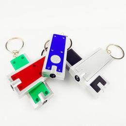 Anneaux carrés en plastique en Ligne-Carré Mini LED Light Keychain En Plastique Tetris Lampe De Poche Clé Boucle Creative Universal Clés Anneau Vente Chaude 0 82yx B