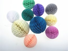 Wholesale Gold Tissue Paper Wholesale - 7.5cm(3inch) 15pcs lot Decorative Honeycomb Tissue Paper Hanging Balls Colored Holiday Wedding Party Supplies