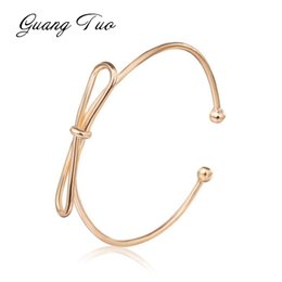 cute bracelet korean fashion Promo Codes - SL009 New Fashion Women Bracelet Bangles Female Korean Personality Bow Opening Simple Bangles Cute Girl Women Jewelry Wholesale