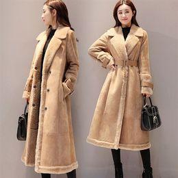Kaki parkas online-Nuovo Design 2019 Autunno / Inverno Donna Taglie forti Colletto in pelliccia caldo Parka Cappotto lungo femminile chaqueta mujer Cachi