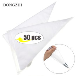 Wholesale cupcake decorating bags - 50PCS Extra Large Size Disposable Pastry Bag Icing Piping Bag Cake Cupcake Decorating Bags Bakeware Cookie Cuer Cake Tools