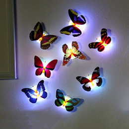 Wholesale animal lamps for kids - Colorful Luminous Butterfly Night Light Home Room Party Wedding Decoration Lights Lamp With Sticker Children Kids Gift