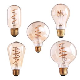 Wholesale e26 base led dimmable bulbs - Spiral Filament LED Bulb 3W Dimmable A19 T45 ST64 G80 G95 Super warm 2200K E26 E27 Base Decorative Household Lightin