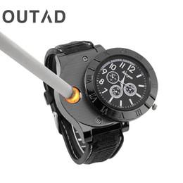 Wholesale Sport Lighters - OUTAD Men Male Metal Wrist Watch Quartz Windproof Electronic Cigarette Lighters Sports Man USB Rechargeable Relogio Masculino