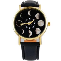 2019 cuir de montre solaire Reloj Mujer Mode Phase de lune solaire Lunar Eclipse Montre Femmes Élégant Quartz Montre PU Bracelet En Cuir Montres Horloge Féminine hou cuir de montre solaire pas cher