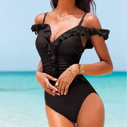 91e805c1f4c8f KEKAKA 2018 Summer Red Black Off Shoulder Swimwear Women One Piece Swimsuits  Sexy May Beach Monokini Maillot de bain Bodysuit