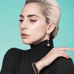 Wholesale industry gold - American HardWear Metal Ball Earrings Women T Logo Round-ball Bracelet Woman Punk Lock Necklace Brand Hip-Pop Industry Jewelry Set