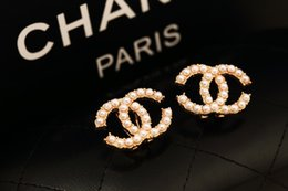 Wholesale Metal G - 2018 various styles of retro female diamond crystal gem letters logo hanging earrings bridal jewelry gift G-58-63