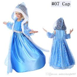 peles de cosplay Desconto Crianças bebê rainha da neve traje anime cosplay dress princesa vestidos com capuz capa de cabo de pele azul dress pronto estoque
