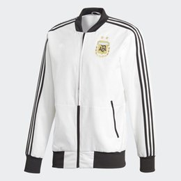 Wholesale Trench Coat Zipper Men - Mens Casula Jackets Windbreaker 2018 Spring Autumn New World Cup Argentine and Spain National Team Mens Football Training Trench Coat
