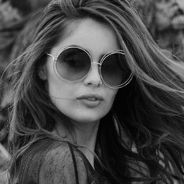 Wholesale round wire glasses - Janio Newest Fashion Carlina Round Wire-Frame Sunglasses 2018 New Vintage Fashion Sun Glasses Women Brand Designer J-017