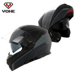 2019 шлем с откидным верхом YOHE 2018 Motorcycle Flip up Helmet Full Face Modular Racing Casque Casco Moto Capacetes for Motorcycle Motor Dual Visors дешево шлем с откидным верхом
