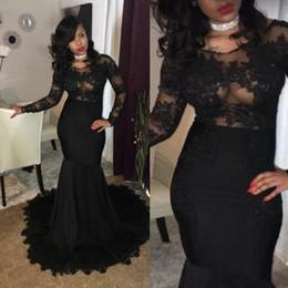 Wholesale Little Sexy Models - Sexy Black Mermaid Prom Dresses Long Sleeves Lace Applique African Evening Gowns Zipper Back Vestidos De Festa