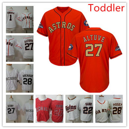 Wholesale Boy Stories - Toddler 28 Nolan Arenado 27 Trevor Story Jersey Baby 22 Miguel Sano 27 Mike Trout 27 Jose Altuve 1 Carlos Correa cool base baseball Jersey