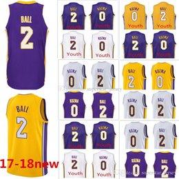 Wholesale Lakers Jersey Xxl - 17-18 New Men Los Angeles #2 Lonzo Ball 0 Kyle Kuzma purple white yellow Jersey Lakers stitching swingman Jerseys