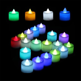 Velas de ámbar online-Colorful Battery Candl Flameless Candles Ámbar Decorativo Led Electronic Candle Light / Yellow Led Tea Lights / Romántico Express Love Home Decor