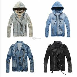 Wholesale Designer Motorcycle Jackets Men - Hot Sale Luxury Designer Jacket Men Slim Warm Denim Motorcycle Biker Winter Jackets Coat Masculina Plus Size M-XXXL Windbreaker