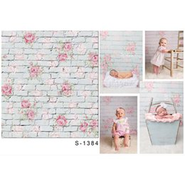 Wholesale brick computer - Newborn Seamless Vinyl Photo Background Flower Brick Computer Children Photography backdrops for photo Studio 1X1.5m S-1384