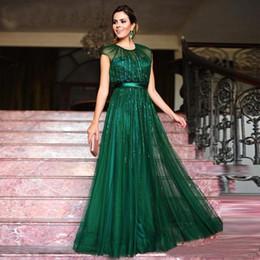 Robes de soirée vert émeraude A-line Paillettes Tulle longueur de plancher Jewel Neck robes festa avec Satin Sash Robe de bal ? partir de fabricateur