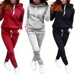 Casual algodão ternos para as mulheres on-line-2 Pçs / set Mulheres Hoodies Com Capuz Tops de Algodão de Manga Comprida Camisola + Suor Calças Compridas Mulher Outono Inverno 2 pcs Terno Quente Outfits