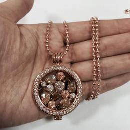 2019 münzenhalter halskette anhänger Großhandels-Reizende hängende Halskette mit voller Kristallmünze und Legierungsmünzenhalter plus Ballkette 80cm für Weihnachtsgeschenk 1 Satz günstig münzenhalter halskette anhänger
