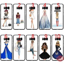 tienda hermosa Rebajas Beautiful Love Girls Dress Shopping Black Soft TPU Phone Case para Samsung Note 9 8 S8 S9 Plus S6 S7 Edge cubierta