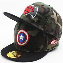 2018 New Hat cartoon Superman Spiderman Child Street baby boy ragazza Berretto da baseball Camouflage BOY Street Hat cappello hip hop berretti da