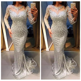 nude slim evening dress Coupons - 2019 Sheer Long Sleeves Slim Evening Dresses Silver Crystals Beaded Prom Party Gowns Custom Lace Appliques Formal Special Occasion Dress