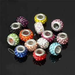 Wholesale Making Porcelain Beads - 11.5mm*7mm Shambhala European Charm Beads Rhinestone Crystal Big Hole Spacer Beads For Jewelry Making Bracelet DIY Wholesale Cheap Price