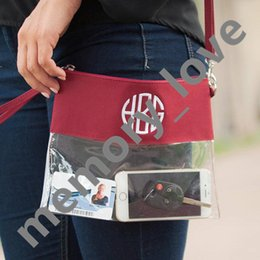 Wholesale Envelope Purse Clutch Pu - Free shipping 2018 Hot stadium clear purse women clutch bags cross bag with one belt 5colors stadium clear handbag