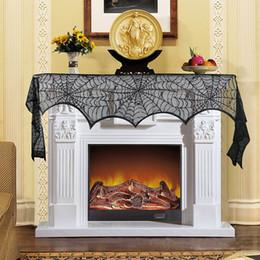 perline di vaso di vaso Sconti Decorazione di Halloween Puntelli Black Lace Spiderweb Camino Mantle Sciarpa Halloween Cover Tovaglia Festosa per feste