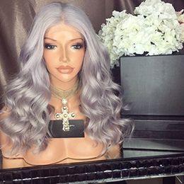 Wholesale Long Gray Wigs For Women - Fashion Ombre Silver Grey Body Wave Lace Front Wig Glueless Long Gray Virgin Human Hair Wigs For fasihion Women