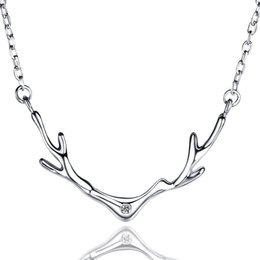 Wholesale Horn Earring Silver - 925 Sterling Silver Pendant sparkling CZ sliver horn necklaces luxury for women necklace of mother days P13