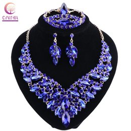 Синий свадебный браслет онлайн-Blue Crystal Rhinestone Gold Color Necklace Earrings Bracelet Ring Set for Women Wedding  Bridal Jewelry Sets