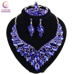 Argentina Cristal azul Rhinestone collar de color oro pendientes anillo conjunto de pulsera para las mujeres de boda de lujo conjuntos de joyería nupcial Suministro