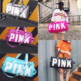 Wholesale Waterproof Nylon Shoulder Bag - 5 Colors Pink Letter Duffel Bags Large Capacity Travel Duffle Striped Waterproof Beach Bag Women Handbags Shoulder Bag 3007011