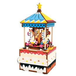 Деревянные пазлы ручной работы онлайн-10 стилей DIY Головоломки с вращающейся музыкальной шкатулкой деревянный кукольный домик миниатюрная модель сборки ручной работы подарочные игрушки для детей #E
