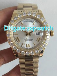 Wholesale Mens Big Faced Watches - AAA Luxury Brand Super President Day Date Men's Watch gold Big Diamond Prong Set Sapphire original clasp white face fashion Mens Watches