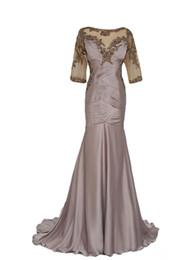 Canada Robes de mère de la mariée brune sirène avec train détachable appliques perles plis manches demi en mousseline de soie formelle robes de soirée M113 Offre