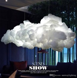 floating switch 2018 - Smart Creative Romantic White Clouds Pendant Lights Led Lightning Effect Lamp White Soft Floating Cotton Cloud Hanging Light Chandelier