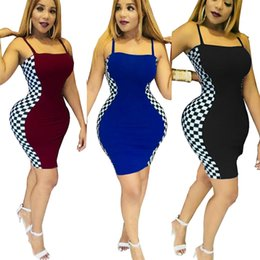 Wholesale pencil midi skirt - Women Summer Midi Pencil Dresses Trendy Sexy Club Plaid Braces Skirt Bodycon Stretch Skirt with Shoulder-straps Slip Dress Camisole Girl