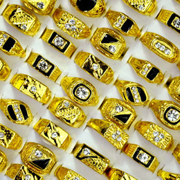 Deutschland Modeschmuck Herren Gold Farbe Emaille Strass Ringe Hot Großhandel Mixed Lots Party Drop Shipping LR4047 supplier enamel jewelry wholesale Versorgung