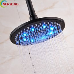Wholesale bronze shower faucets - Bathroom Faucet 16 Inch Oil Rubbed Bronze Brass Rainfall Shower Head With Led Light