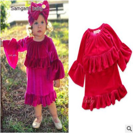Wholesale Winter Velvet Wedding Dress - Spring Infant Baby Girls Gold Velvet Ruffle Dress Princess Kids Long Sleeve Retro Dress Princess Party Wedding Pleuche Dresses Top Quality