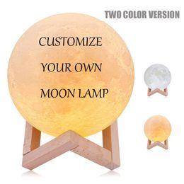 3D Printing Moon Night Light Novità Lampada DC5V USB Ricaricabile Indoor Decorazione romantica giallo e bianco Personalizza notte a led 8CM 10CM 15CM da
